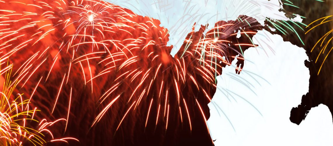 Pro Fireworks Michigan. Red fireworks over the state of Michigan.